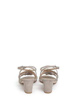 Back View - Click To Enlarge - Stuart Weitzman - 'Tasselmania' suede chunky heel sandals
