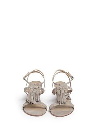 Front View - Click To Enlarge - Stuart Weitzman - 'Tasselmania' suede chunky heel sandals