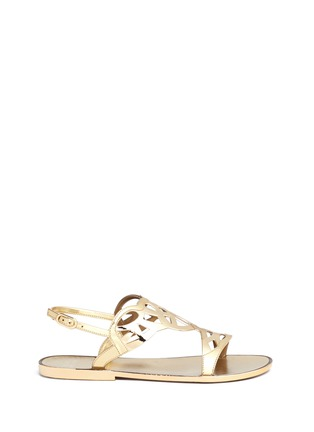 Main View - Click To Enlarge - Stuart Weitzman - 'Gel Fisher' lattice cutout jelly sandals