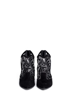 NICHOLAS KIRKWOOD Lace embroidery suede booties
