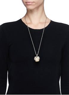 ALEXANDER MCQUEENOwl skull silver strass rock crystal necklace