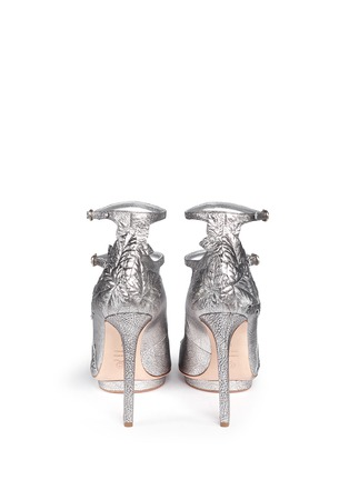 Back View - Click To Enlarge - Alexander McQueen - Leaf appliqué metallic leather pumps
