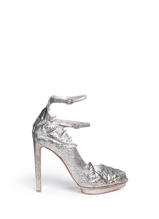 Main View - Click To Enlarge - Alexander McQueen - Leaf appliqué metallic leather pumps