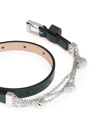 Detail View - Click To Enlarge - Alexander McQueen - Skull chain double wrap leather bracelet