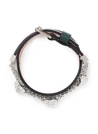 Main View - Click To Enlarge - Alexander McQueen - Skull chain double wrap leather bracelet