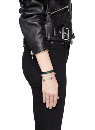 Figure View - Click To Enlarge - Alexander McQueen - Skull chain double wrap leather bracelet