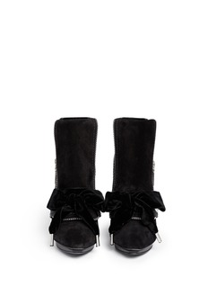 ALEXANDER MCQUEEN Velvet bow leather suede ankle boots