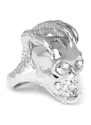 Detail View - Click To Enlarge - Alexander McQueen - Rock crystal large skull claw ring