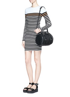T BY ALEXANDER WANG Engineer stripe stretch jersey pencil skirt