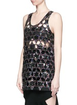 Sequinned star cutout tank top