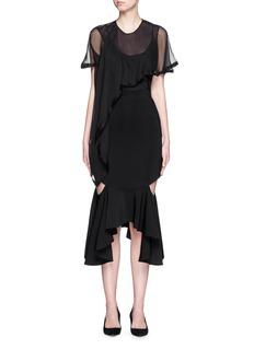 GIVENCHYAsymmetric drape sheer silk top