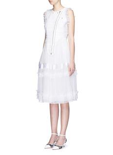GIVENCHYSilk chiffon ruffle tier tweed sleeveless dress