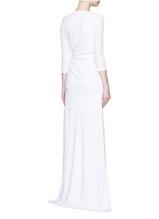 Back View - Click To Enlarge - Givenchy - Ruche waist side slit crepe jersey gown