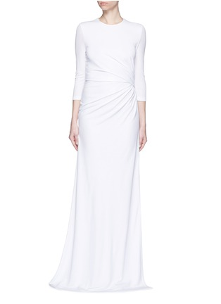 Main View - Click To Enlarge - Givenchy - Ruche waist side slit crepe jersey gown