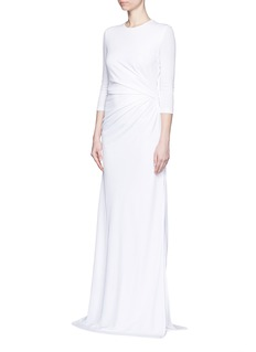 GIVENCHY Ruche waist side slit crepe jersey gown