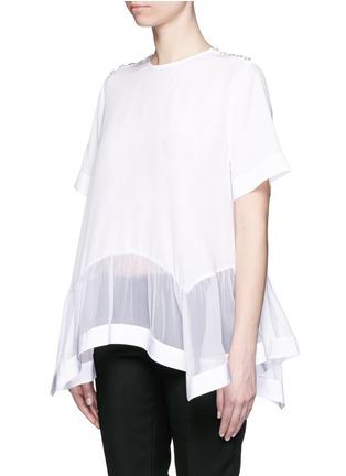 Givenchy-Chiffon windowpane insert hem silk top