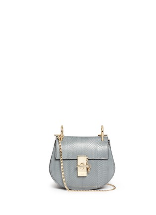 Main View - Click To Enlarge - Chloé - 'Drew' mini snakeskin leather bag