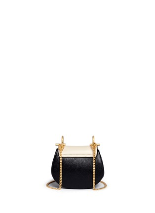 Back View - Click To Enlarge - Chloé - 'Drew' nano colourblock grainy leather shoulder bag