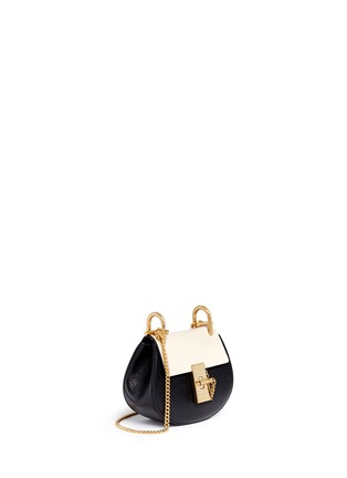 Front View - Click To Enlarge - Chloé - 'Drew' nano colourblock grainy leather shoulder bag