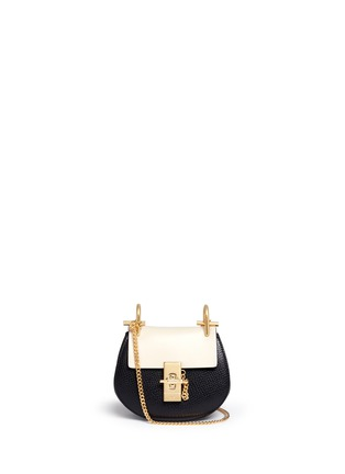 Main View - Click To Enlarge - Chloé - 'Drew' nano colourblock grainy leather shoulder bag