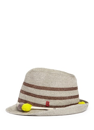 Figure View - Click To Enlarge - My Bob - 'AIX' pompom seashell cordon stripe Panama hat