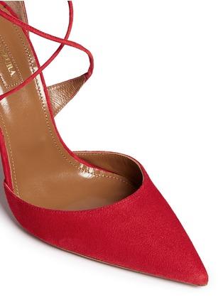 Detail View - Click To Enlarge - Aquazzura - 'Matilde' lace-up tie back suede pumps