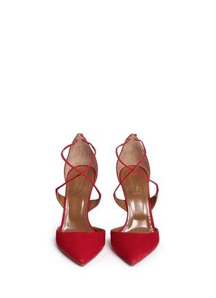 Figure View - Click To Enlarge - Aquazzura - 'Matilde' lace-up tie back suede pumps