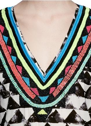 Detail View - Click To Enlarge - Mara Hoffman - 'Alta' embellished neck geometric print kaftan