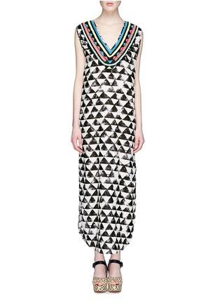 Main View - Click To Enlarge - Mara Hoffman - 'Alta' embellished neck geometric print kaftan