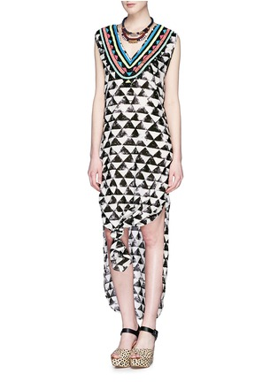 Figure View - Click To Enlarge - Mara Hoffman - 'Alta' embellished neck geometric print kaftan