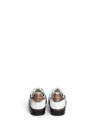 Back View - Click To Enlarge - Alexander McQueen - Mirror trim cracked leather sneakers