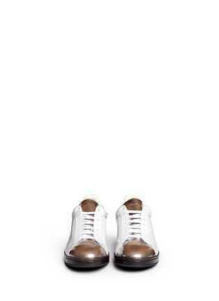 Figure View - Click To Enlarge - Alexander McQueen - Mirror trim cracked leather sneakers