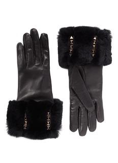 VALENTINO'Rockstud' rabbit fur leather gloves