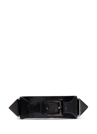 Back View - Click To Enlarge - Valentino - 'Rockstud'' macro leather bracelet