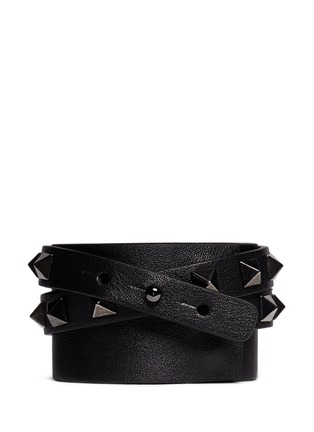Back View - Click To Enlarge - Valentino - 'Rockstud' double wrap leather bracelet