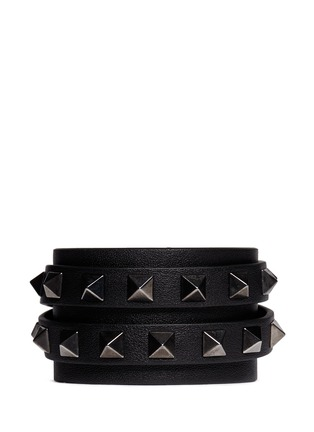 Main View - Click To Enlarge - Valentino - 'Rockstud' double wrap leather bracelet