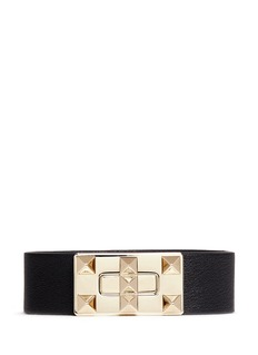 VALENTINO 'Rockstud' twist buckle leather bracelet