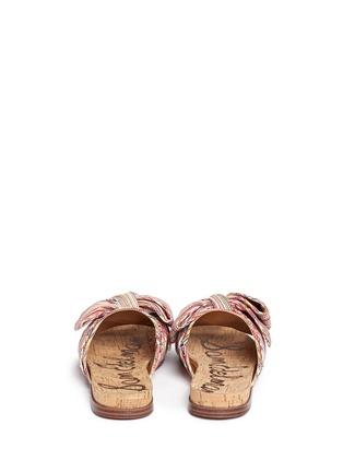 Back View - Click To Enlarge - Sam Edelman - 'Henna' stripe bow cork slide sandals