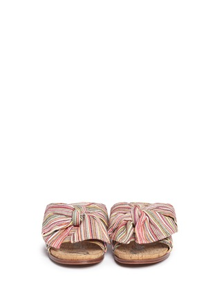 Front View - Click To Enlarge - Sam Edelman - 'Henna' stripe bow cork slide sandals