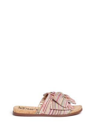 Main View - Click To Enlarge - Sam Edelman - 'Henna' stripe bow cork slide sandals