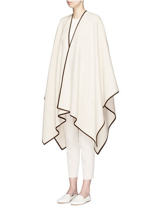Front View - Click To Enlarge - The Row - 'Dusana' goatskin suede trim Merino wool-cashmere cape