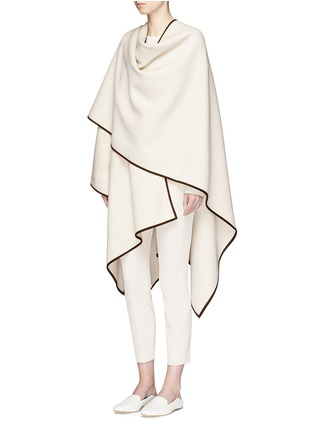 Figure View - Click To Enlarge - The Row - 'Dusana' goatskin suede trim Merino wool-cashmere cape