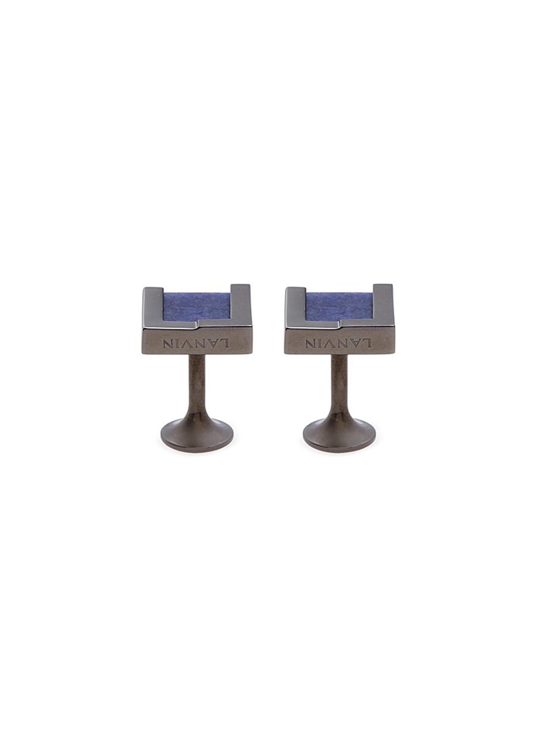lanvin male interchangeable rectangle gemstone cufflinks