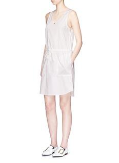 Theory'Miigan DR' drawstring jersey and cotton poplin tank dress