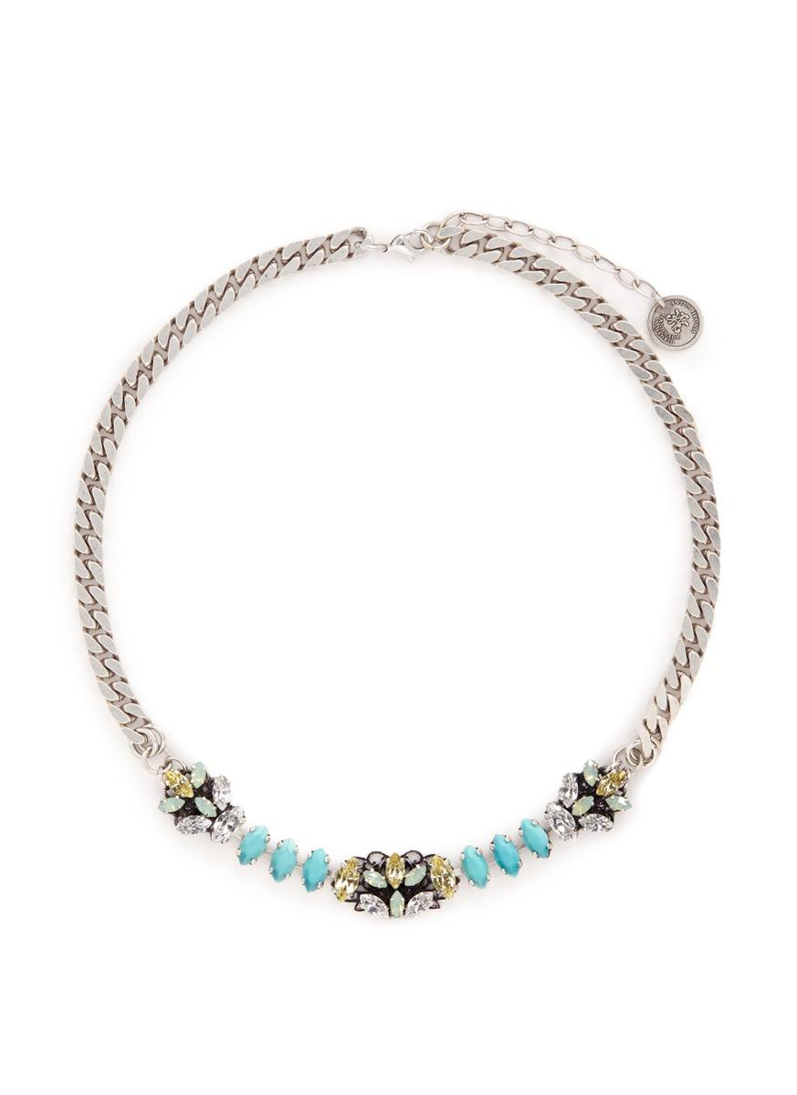 Swarovski crystal filigree floral charm necklace by Anton Heunis
