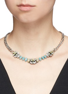 Anton HeunisSwarovski crystal filigree floral charm necklace
