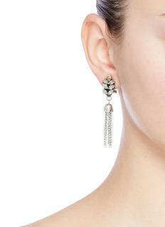 Anton HeunisChain tassel Swarovski crystal leaf stud earrings
