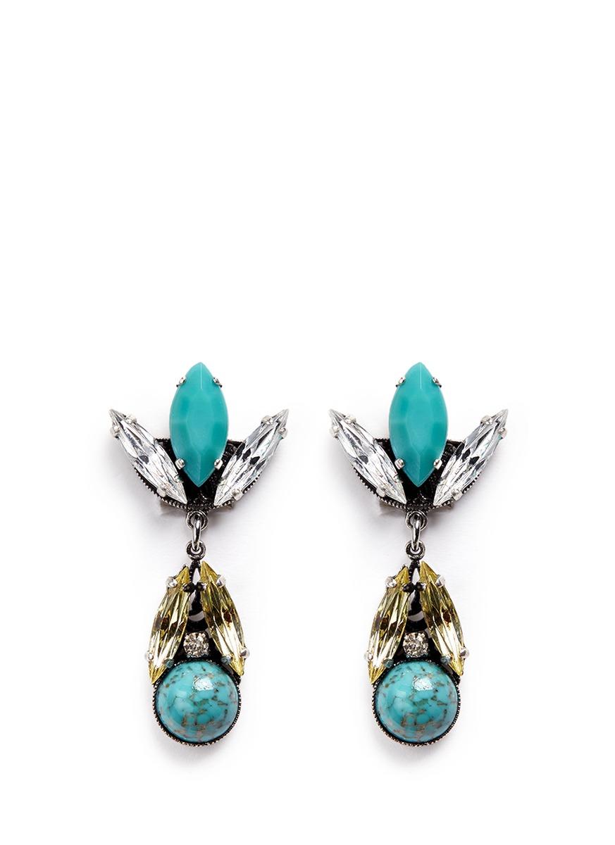 Swarovski crystal vintage stone cluster drop earrings by Anton Heunis