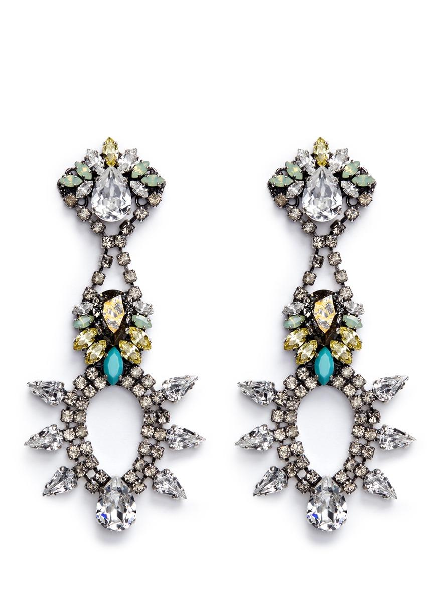 Swarovski crystal chandelier earrings by Anton Heunis