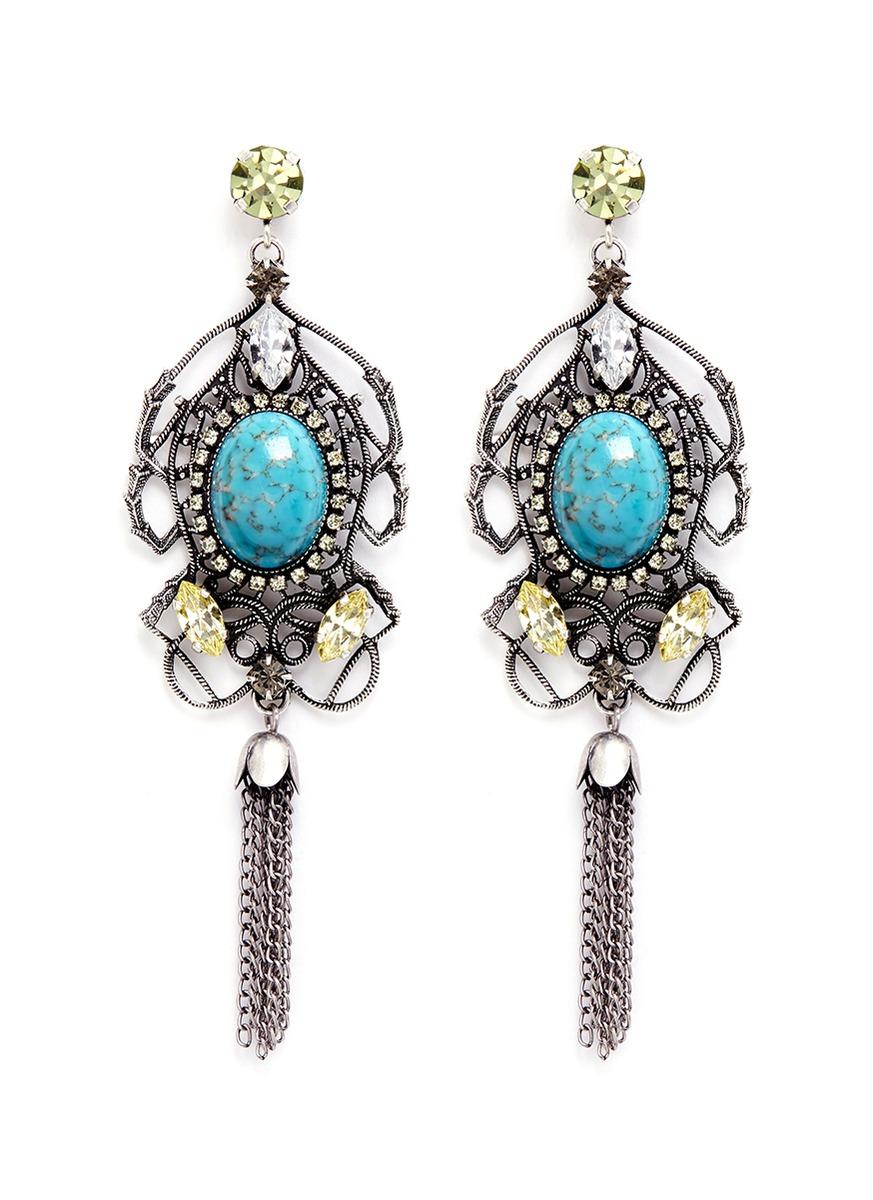 Swarovski crystal vintage stone chandelier earrings by Anton Heunis